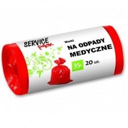 Czerwone worki na odpady medyczne Service Pack 20 szt.