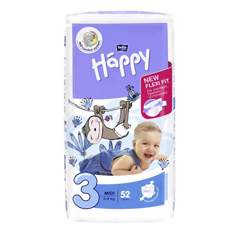 Pieluszki Bella Baby Happy New Flexi Fit Midi (3) 5-9 kg