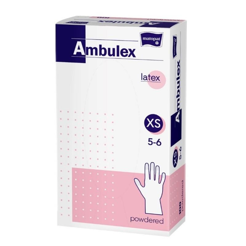 Rękawice ochronne lateksowe Ambulex, białe, niesterylne