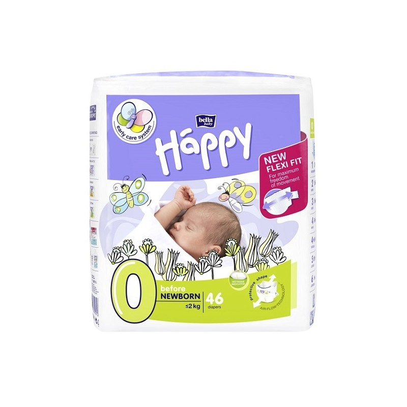 Pieluszki dla wcześniaków Happy New Flexi Fit Before Newborn (0) do 2 kg