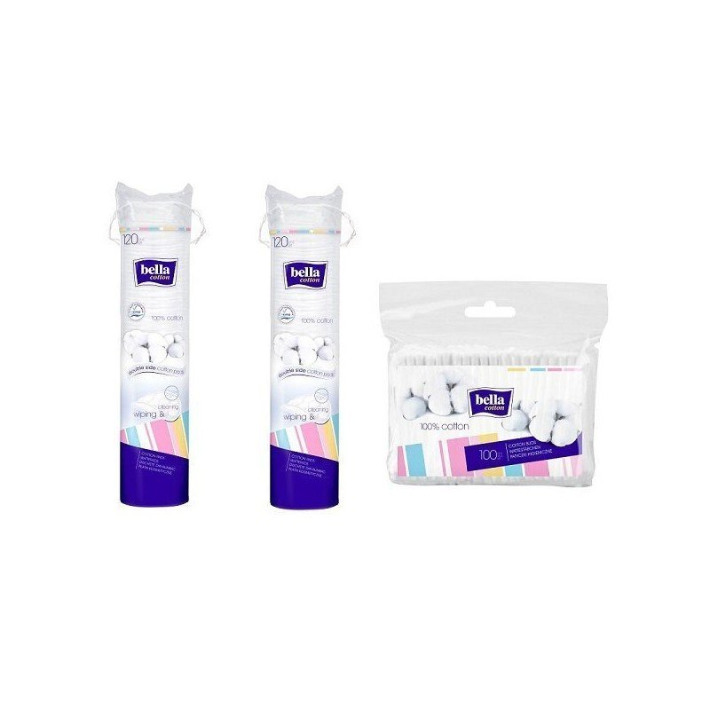 Płatki kosmetyczne Bella Cotton 120 szt. x 2 + patyczki 100 szt.