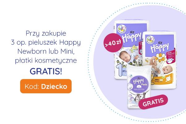 Przy zakupie 3 opakowań pieluszek Happy Newborn lub Mini, płatki kosmetyczne GRATIS!
