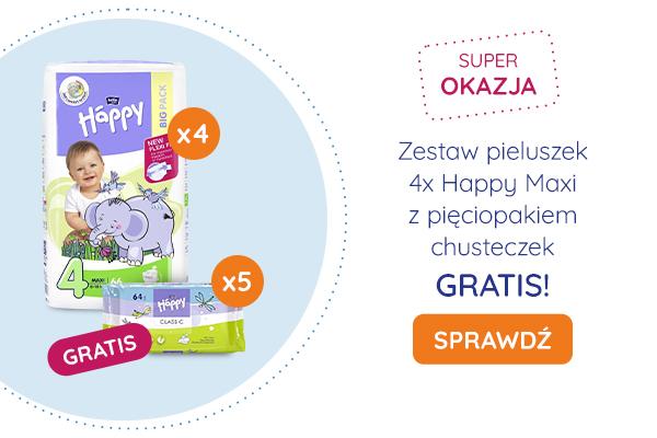 Zestaw pieluszek 4x Happy Maxi z pięciopakiem chusteczek GRATIS!